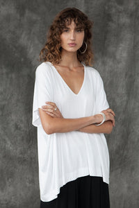 BAMBOO PONCHO TOP - white