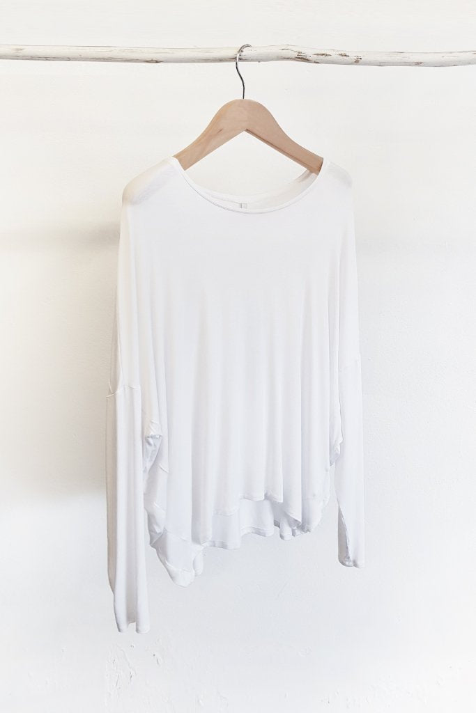 BAMBOO COCOON L/S TOP - white