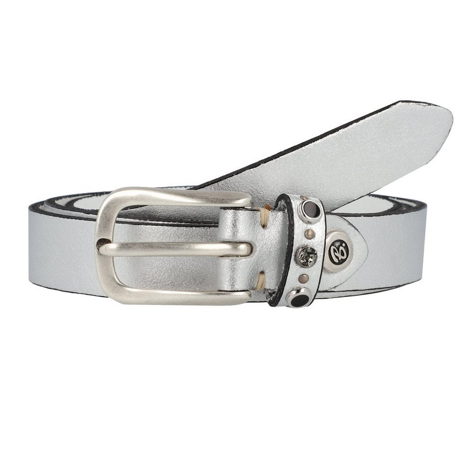 PLAIN METALLIC LEATHER BELT 30MM - silver