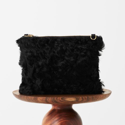 SHEARLING & LEATHER CLUTCH