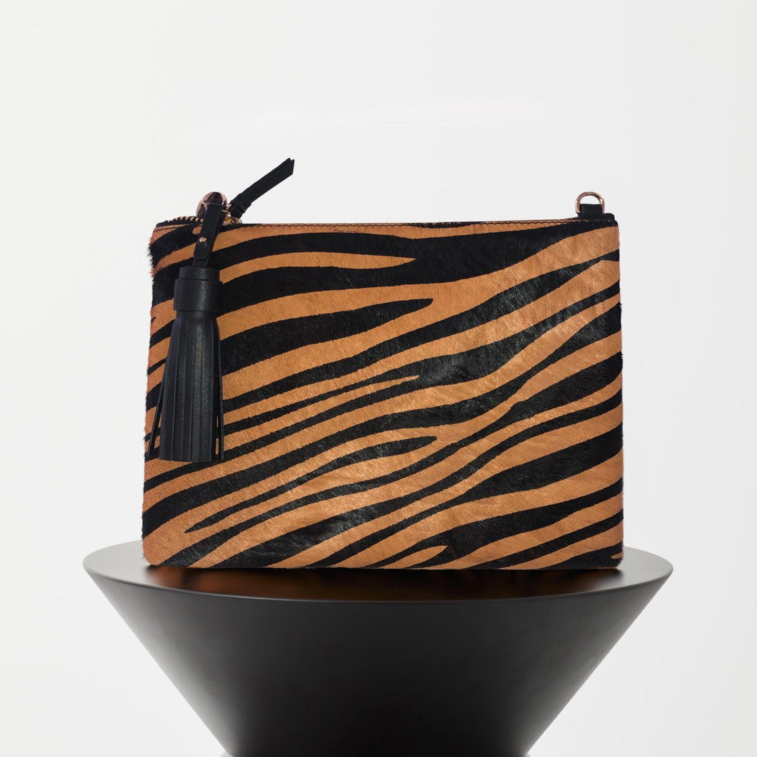 TIGER LEATHER CROSSBODY BAG