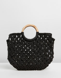 FLORA WOOD HANDLE JUTE TOTE