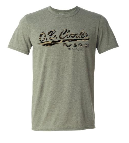 Short Sleeve Camo O'B Clarks T-Shirt - Heather Military Green