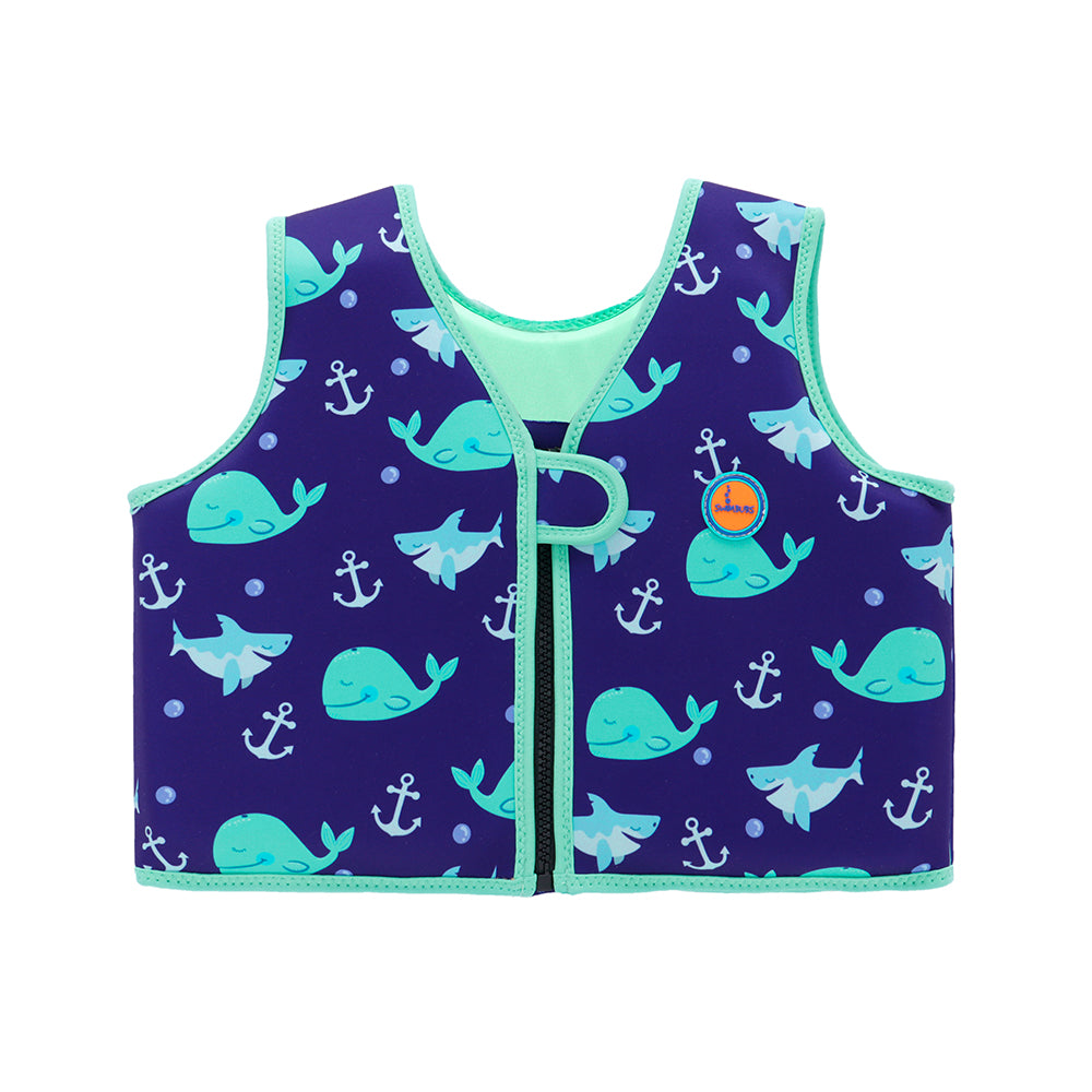 Swim Vest In Blue Whale Print