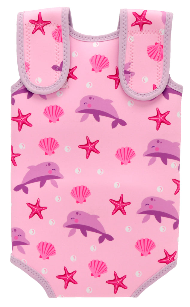 Soft Baby Wrap Wetsuit In Pink Dolphin Prints