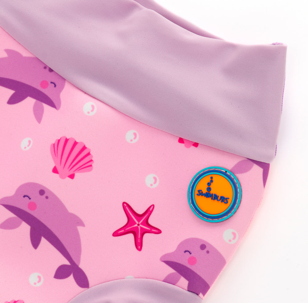 Baby Swimming Nappy With Pink Dolphin & Starfish Prints