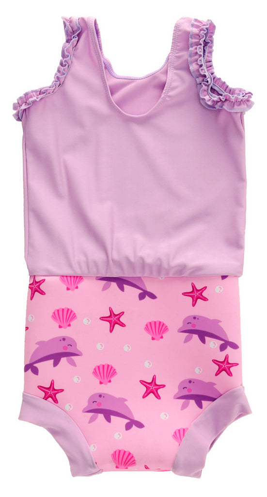 Pink Dolphin Swimming Nappy For Baby And Kids