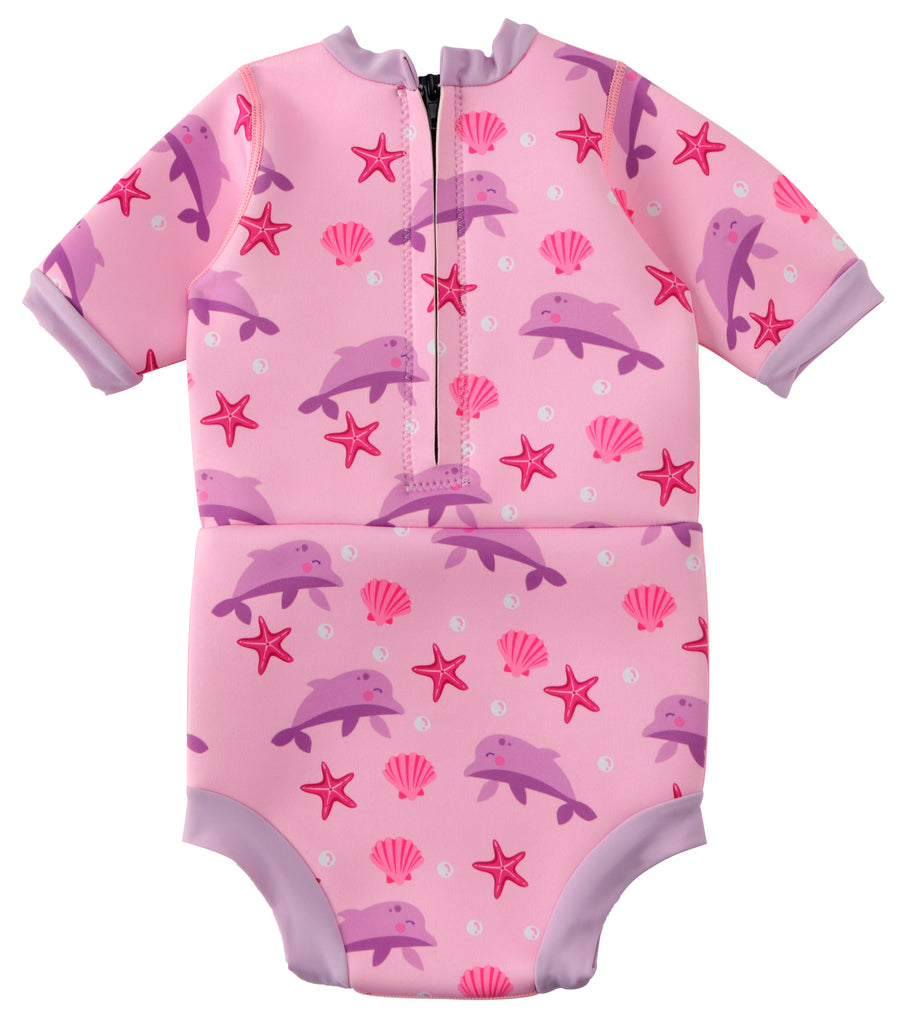 Pink Dolphin Nappy Wetsuit To Protect Kids