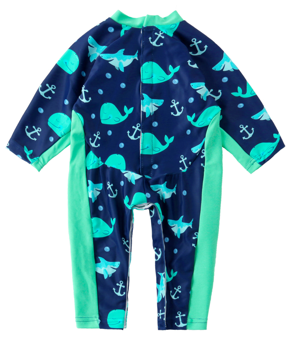 UV Swim Wear In Blue Whale Print For Baby, Kids And Children