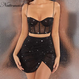 Mesh Tops And Skirt Diamond Glitter Two Piece Set