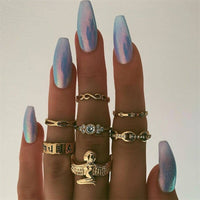 Crystal Joint Gold Ring Set