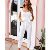 Sleeveless Solid Backless Ruffle Jumpsuit
