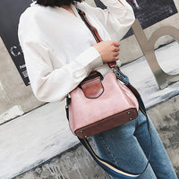 wide shoulder strap Leather bucket Crossbody Bags