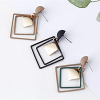 Square Metal Double Layers Long Drop Earring