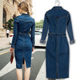 Denim Long Sleeved High Waist Knee-Length Dress