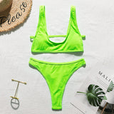 Neon bikinis Ribbed bathing suit