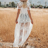 White Mesh Embroidery Swim cover up