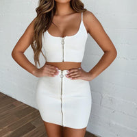 Vogue White Solid Sling Backless  Sets