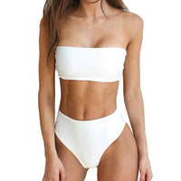 Striped Strapless Bandeau High Waist Bathing Suit