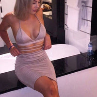 V neck Bandage crop tops and pencil skirt Sets