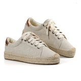 Lace-up Espadrilles Casual Flock Platform Sneakers