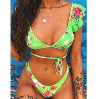 Front Lace Up Tie Strapless Leopard Swimsuit