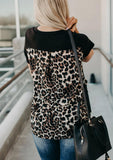 V-neck T-shirt Leopard Pocket Tee