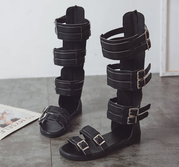 Knee High  Buckle Strap Flats Sandals