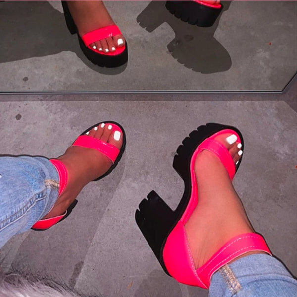 Thick Platform Ankle Strap High Heels Shoes