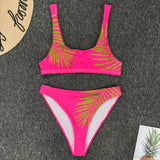 Leaves Print High Waist Bikini set