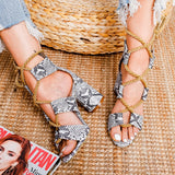 Lace Up Snake Print Gladiator heel Sandals