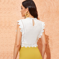 Neck Guipure Lace Trim Embroidery Tops