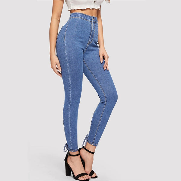 Zip Fly Lace Up Crisscross Knot Skinny Jeans