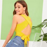 Bright Ginger Criss-cross Tie Back Crop Tank Top