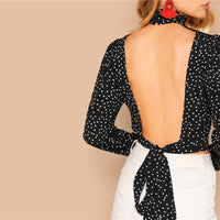 Bow Knot Open Back Polka Dot Print Crop Blouse