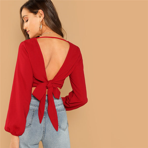 Backless Knot V-Back Wrap Crop Slim Fit Pullovers Top
