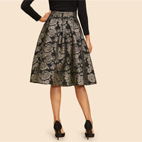 Gold Flower Print Mid Waist Flare Knee-Length Skirt
