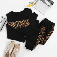 Leopard Panel Pullover Sweatshirt and Sweatpants Set