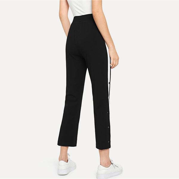 Side Pants Casual High Waist Crop Trousers Pants