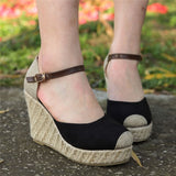 Suede High Ankle Round Toe Wedges