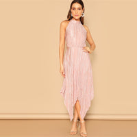 Hem Keyhole Back Pleated Halter Sleeveless Maxi Dress
