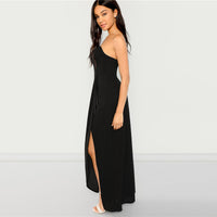 Off Shoulder Split Solid Dress Party Sexy Plain Slim Maxi Dresses