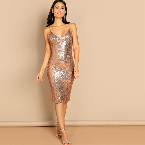 Sequin Cami Spaghetti Strap Knee Length Dress
