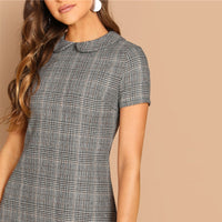Cotton Peter-Pan-Collar Plaid Short Sheath Short Sleeve Flared Dress
