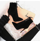 Pointed Toe Thin Heels Zipper Boots