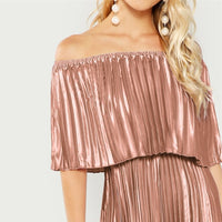 Foldover Front Off Shoulder Pleated Ruffle High Waist Maxi Dress
