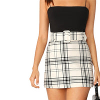 White Buckle High Waist Belted Plaid Skirt Skirt