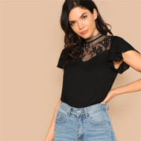 Lace Insert Flutter Sleeve Blouse Ladies Tops