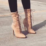 Lace-Up Pointed Toe Ankle High Heels Boots
