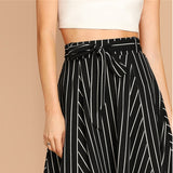 Black and White High Waist Striped Belted Shift A Line Skirt